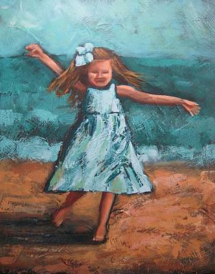 Little Girl On Beach Painting - Tiny Dancer by Karen Smith