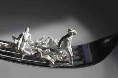 Impersonal Photograph - Tiny Figurines Are Trying To Escape From A Fork by Ulrich Kunst And Bettina Scheidulin
