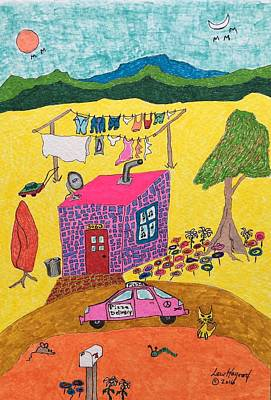 Painting - Tiny House With Clothesline by Lew Hagood