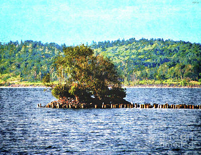 Marquette Digital Art - Tiny Island Of The Big Lake by Phil Perkins