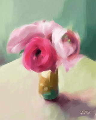 Painting - Tiny Pink Ranunculus Floral Art by Beverly Brown