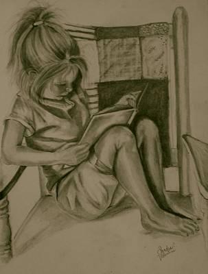 Rocker Drawing - Tiny Reader by Sandra Valentini