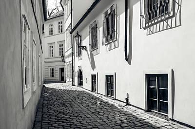 Photograph - Tiny Romantic Streets Of Prague. Rasnovka. Monochrome by Jenny Rainbow