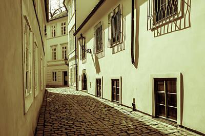 Photograph - Tiny Romantic Streets Of Prague. Rasnovka. Vintage Sepia by Jenny Rainbow