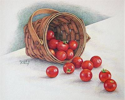 Tomato Drawing - Tiny Toppled Tomatoes by Michele Bolling