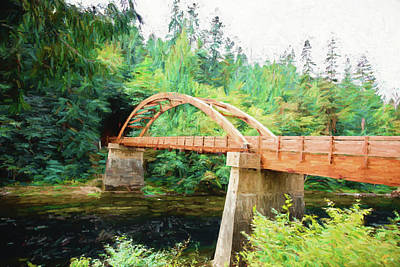 Tioga Bridge Over The Umpqua  Print by Scott Pellegrin