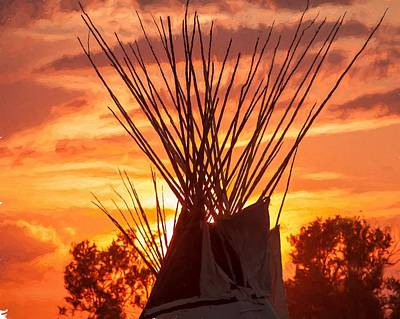 Photograph - Tipi Sunset by Jack Bell