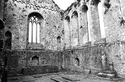 Photograph - Tipperary Ireland Athassel Priory Medieval Ruins Lancet Windows And St Joseph Statue Black And White by Shawn O'Brien