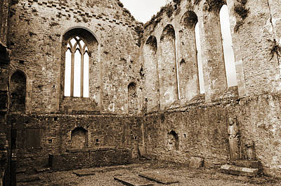 Photograph - Tipperary Ireland Athassel Priory Medieval Ruins Lancet Windows And St Joseph Statue Sepia by Shawn O'Brien