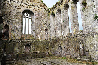 Photograph - Tipperary Ireland Athassel Priory Medieval Ruins Lancet Windows And St Joseph Statue by Shawn O'Brien