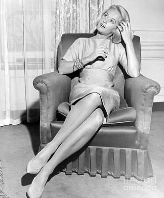 Tippi Hedren Posing In Chair During The Filming Of Alfred Hitchcock's The Birds. 1963 Art Print