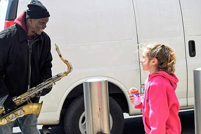 Musicians Royalty Free Images - Tipping the Street Musician Royalty-Free Image by Mary Ann Artz