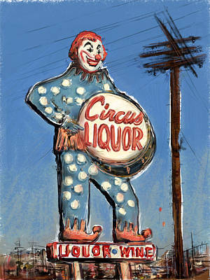 Liquor Mixed Media - Tipsy The Clown by Russell Pierce