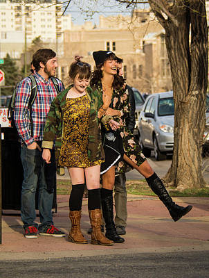 First Friday Photograph - Tipsy Young Festivarians Enjoying Santa Fe Avenue On Friday Nigh by Cary Leppert