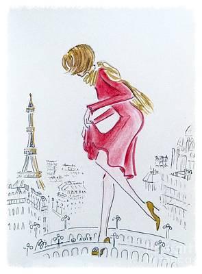 Paris Skyline Drawings - Tiptoeing through Paris by Barbara Chase
