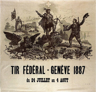 Mixed Media - Tir Federal - Geneve - Vintage Political Poster - Swiss Propaganda by Studio Grafiikka