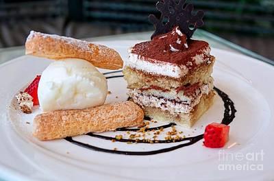 Photograph - Tiramisu Dessert With Ice Cream And Ladyfingers by Yali Shi
