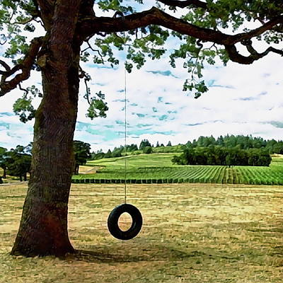 Digital Art - Tire Swing At A Vineyard by Richard Hinds
