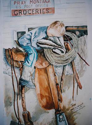 Wall Art - Painting - Tired Cowboy by Cheryl Bishop