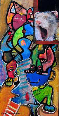 Gerbil Painting - Tired Gerbil by Kathi Halickman