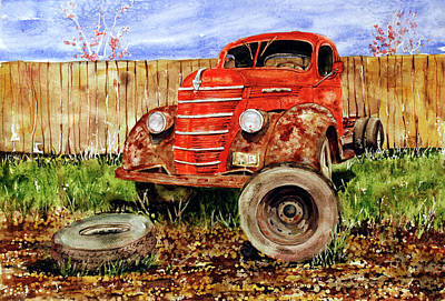 Junk Yard Painting - Tired Old Truck by Shirley Sykes Bracken