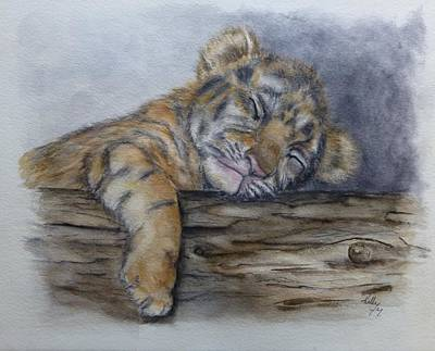 Painting - Tired Tiger Cub by Kelly Mills