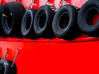 Photograph - Tires On Red by Robin Zygelman