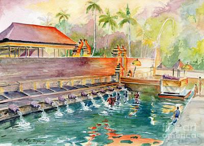 Painting - Tirta Empul Tampak Siring Temple by Melly Terpening