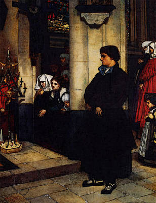 Digital Art - Tissot During The Service  Martin Luther S Doubts  by James Jacques Joseph Tissot