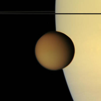 Titan From Cassini Art Print by Photo Researchers