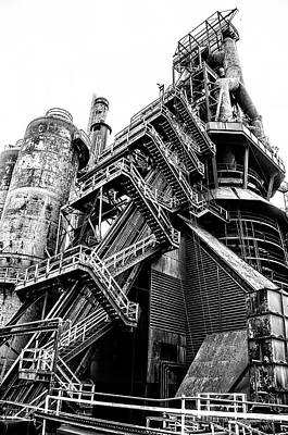 Titan Of Industry - Bethlehem Steel Mill In Black And White Art Print by Bill Cannon