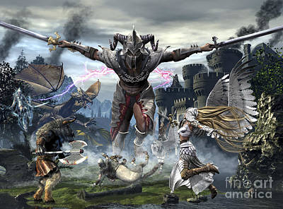 Fantasy Royalty-Free and Rights-Managed Images - Titan Trying To Defeat A Legion by Kurt Miller