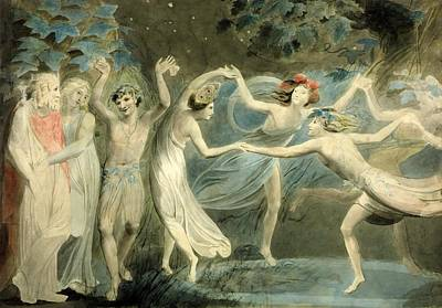 Puck Painting - Titania And Puck With Fairies Dancing by William Blake