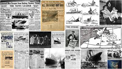 Titanic Headlines From 1912 Art Print by Don Struke