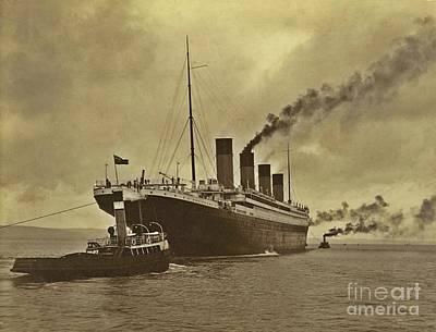 The Titanic Photograph - Titanic In Harbor by John Malone