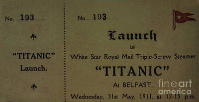 Photograph - Titanic Launch Ticket by Elvis Vaughn
