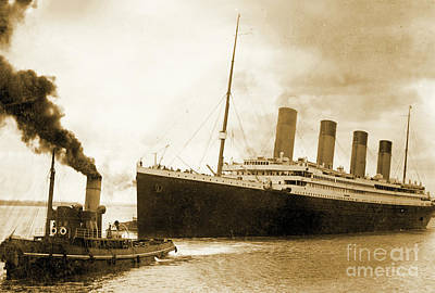 Tugboats Photograph - Titanic Leaving Port On It's Maiden Voyage, Circa 1912 by English School