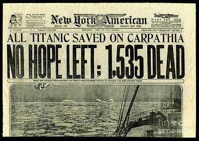 Titanic Newspaper  Art Print