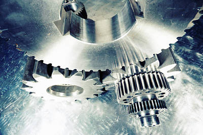 Art Print featuring the photograph Titanium Aerospace Cogs And Gears by Christian Lagereek