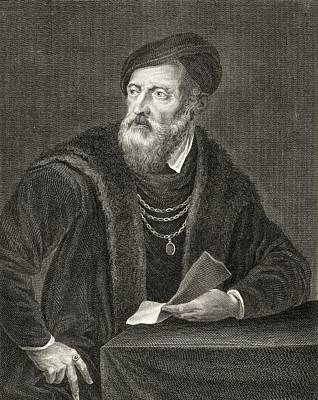 Self-portrait Drawing - Titian, Tiziano Vecellio by Vintage Design Pics
