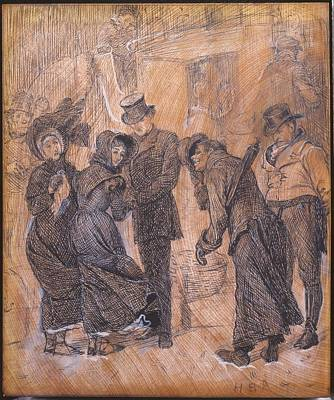 Engraving Painting - Title London Scene by Arthur Boyd Houghton