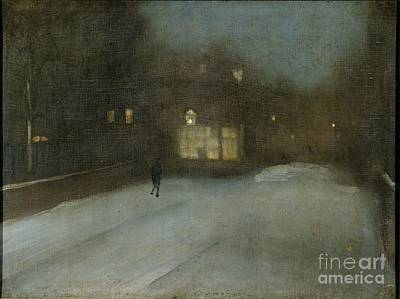 Whistler Painting - Title Nocturne In Grey And Gold Chelsea Snow by MotionAge Designs
