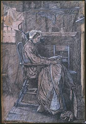 Engraving Painting - Title Old Woman Seated In A Chair by Arthur Boyd Houghton