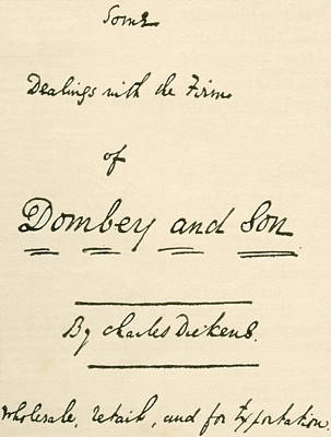 Caligraphy Drawing - Title Page To Manuscript Of Dombey And by Vintage Design Pics