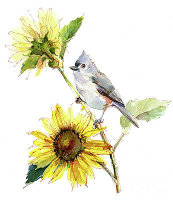 Titmouse Painting - Titmouse With Sunflower by John Keeling