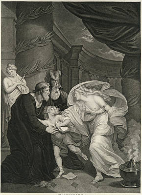 Drawing - Titus's Garden. Lucius Pursued By Lavinia by Thomas Kirk