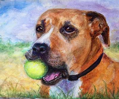 Pittie Painting - Tiva by Virginia Calden