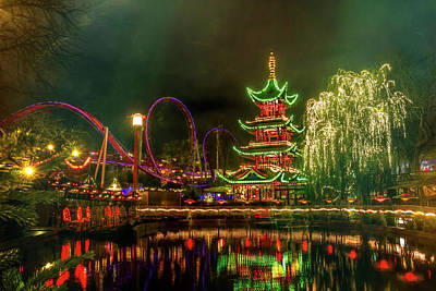 Pagoda Photograph - Tivoli Gardens In Copenhagen By Night  by Carol Japp