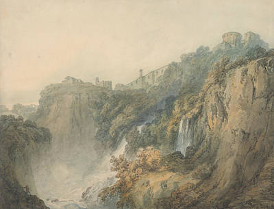 Tivoli With The Temple Of The Sybil And The Cascades Art Print by Joseph Mallord William Turner