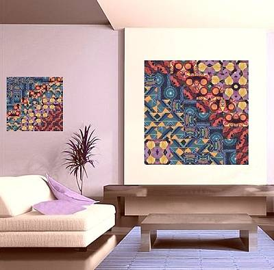 Digital Art - T J O D Mandala Series Puzzle 5 Arrangements 5 And 6 On The Wall  by Helena Tiainen